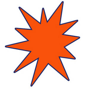 Free Clipart Graphic of an Orange Star Burst with a Navy Blue Outline