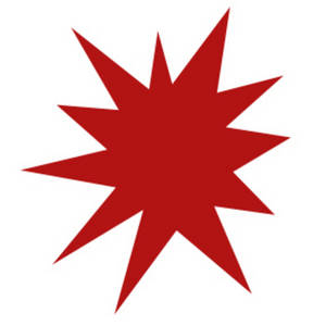Free Clipart Picture of a Red Star Burst