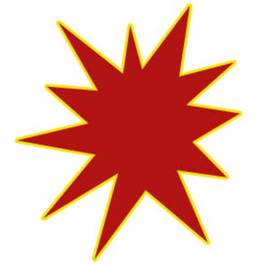 Free Clipart Image of a Red Star Burst with a Yellow Outline