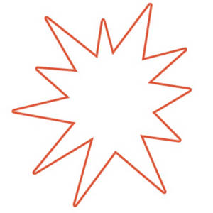 Free Clipart Picture of a White Star Burst with an Orange Outline