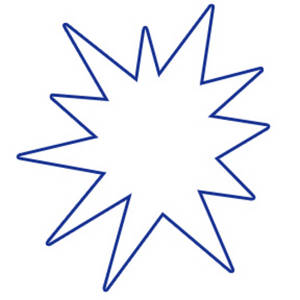 Free Clipart Illustration of a White Star Burst with a Blue Outline