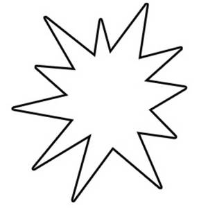 Free Clipart Picture of a White Star Burst with a Black Outline