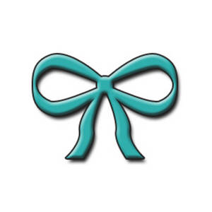 Free Clipart Illustration of a Turquoise 3D Bow