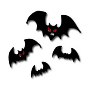Free Clipart Picture of Flying Bats