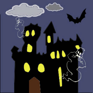 Free Clipart Picture of a Haunted Castle with Lights in the Windows