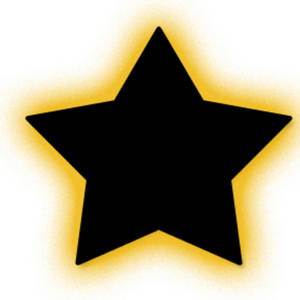 Free Clipart Picture of a Glowing Black Star