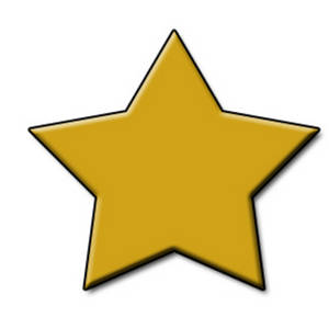 Free Clipart Picture of a 3D Gold Star
