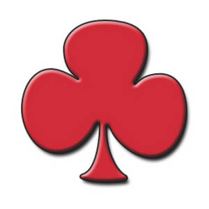 Free Clipart Picture of a Playing Card Symbol - Red Club