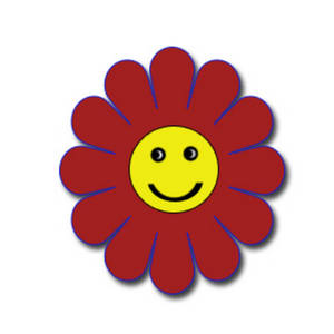 Free Clipart Picture of a Red and Yellow Happy Face Flower