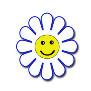Free Clipart Image of a White and Blue Happy Face Flower