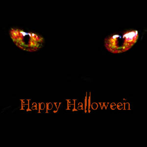 Free Clipart Graphic of Glowing Orange Cat Eyes-Happy Halloween