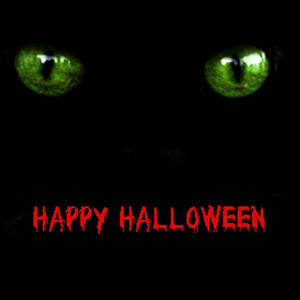 Free Clipart Picture of Glowing Green Cat Eyes-Happy Halloween