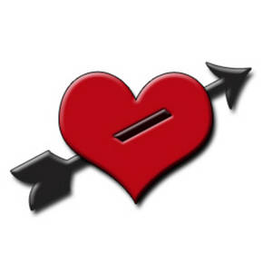 Free Clipart Picture of a Heart with an Arrow Through it and Drop Shadow