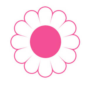 Free Clipart Image of a White and Pink Daisy