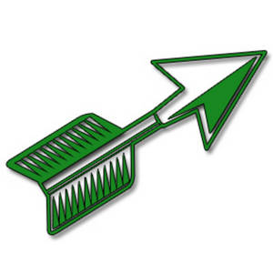 Clipart Picture of a Short, Green Arrow