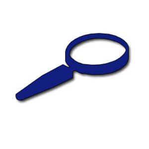 Free Clipart Picture of a Blue Magnifying Glass