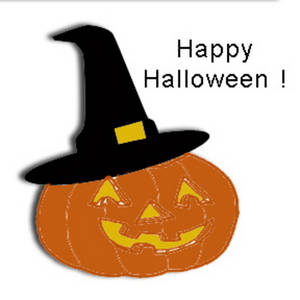 Free Clipart Image of a Pumpkin Wearing a Witch's Hat with Happy Halloween