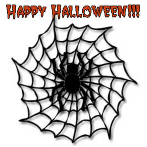 Halloween Clipart Picture of a Black Spider in a Web