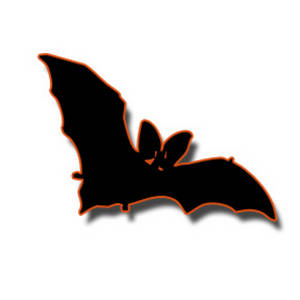 Free Halloween Clipart Picture of a Black and Orange Bat