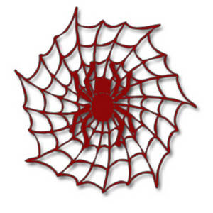 Free Halloween Clipart Picture of a Red Spider in a Web