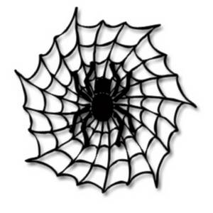 Free Halloween Clipart Picture of a Black Spider and Web