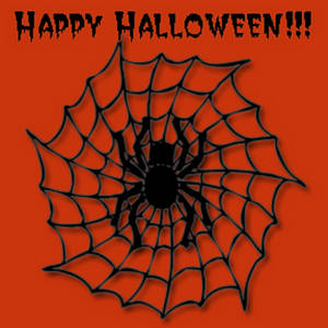 Free Halloween Clipart Picture of a Happy Halloween Spider in a Web