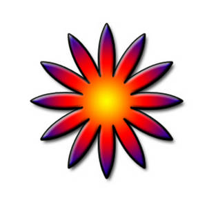 Free Clipart Picture of a Star Shaped, Rainbow Flower