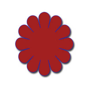 Free Clipart Picture of a Red Daisy with a Blue Outline