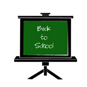 Free Clipart Picture of a Back to School Message on a Chalkboard