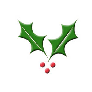 Free Clipart Picture of Embossed Holly Leaves with Berries