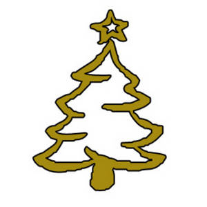 Free Clipart Picture of a Gold, Outlined, Christmas Tree