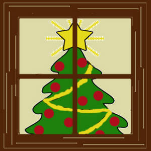 Free Clipart Picture of a Christmas Tree Seen Through a Window