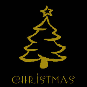 Free Clipart Graphic of a Gold, Outlined Christmas Tree