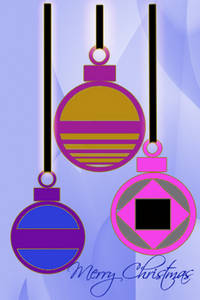 Free Christmas Clipart Picture of Three Ornaments Hanging Down
