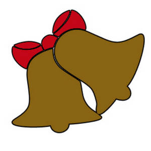 Clipart Picture of Christmas Bells with a Red Bow
