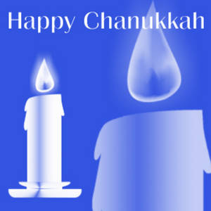 Free Clipart Picture of a Lighted Candle and Happy Chanukkah