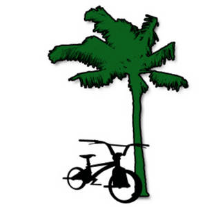 Free Clipart Picture of a Palm Tree with a Bike Leaning Against It
