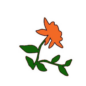 Free Clipart Picture of an Orange Rose with Leaves