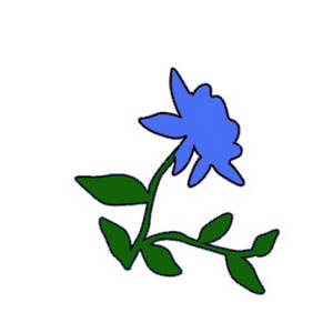 Free Clipart Image of a Light Blue Rose with Vines
