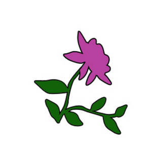 Free Clipart Illustration of a Dark Pink Rose with Vines
