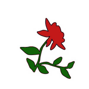 Free Clipart Picture of a Red Rose with Vines