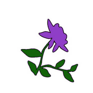 Free Clipart Image of a Purple Rose with Vines