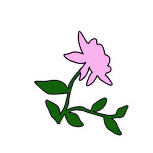 Free Clipart Illustration of a Light Pink Rose with  Green Vines