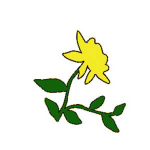 Free Clipart Graphic of a Yellow Rose with Vines