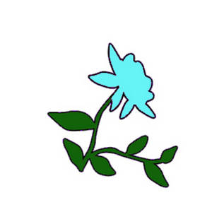 Free Clipart Picture of a Pale Turquoise Rose with Vines