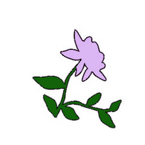 Free Clipart Image of a Lavender Rose with Leafy Vines
