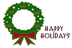 Free Clipart Picture of Happy Holidays Wreath