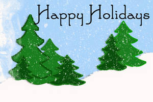 Free Clipart Picture of Pine Trees in a Snow Flurry, Happy Holidays