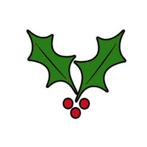 Free Clipart Picture of Black Outlined Holly