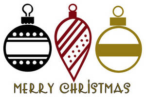 Free Clipart Picture of Three Christmas Ornaments